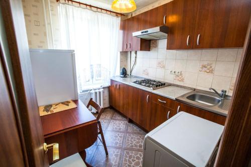 A kitchen or kitchenette at Standard Brusnika Apartments Serpukhovskaya