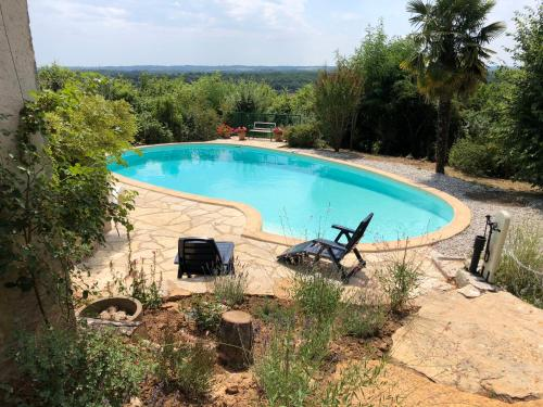 The swimming pool at or near House with 2 bedrooms in Bruniquel with private pool furnished garden and WiFi