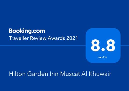 A certificate, award, sign, or other document on display at Hilton Garden Inn Muscat Al Khuwair