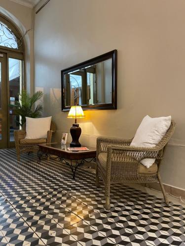A seating area at Boutique Hotel Belgica