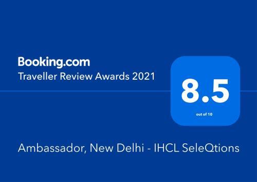 Сертификат, награда, вывеска или другой документ, выставленный в Ambassador, New Delhi - IHCL SeleQtions