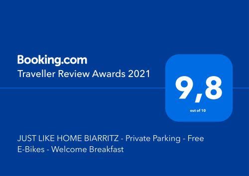 Certificado, premio, señal o documento que está expuesto en JUST LIKE HOME BIARRITZ - Private Parking - Free E-Bikes - Welcome Breakfast