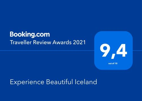 A certificate, award, sign, or other document on display at Experience Beautiful Iceland