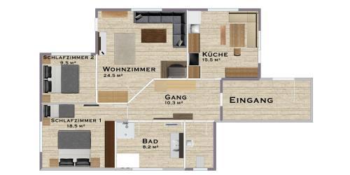 Grundriss der Unterkunft Alp Chalet Appartement