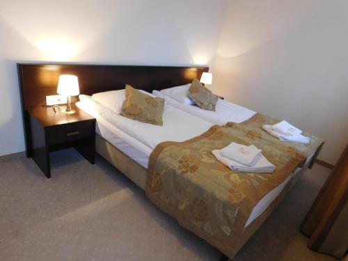 Łóżko lub łóżka w pokoju w obiekcie Hotel Świętoborzec