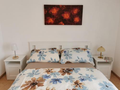 Ein Bett oder Betten in einem Zimmer der Unterkunft Ferienwohnung und B&B Chasa Janett