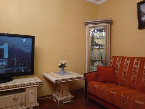 A television and/or entertainment center at Apartment In Domodedovskaya