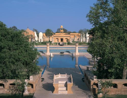 A view of the pool at The Oberoi Rajvilas Jaipur or nearby