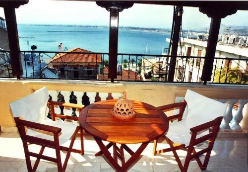 A balcony or terrace at Pension Eleni