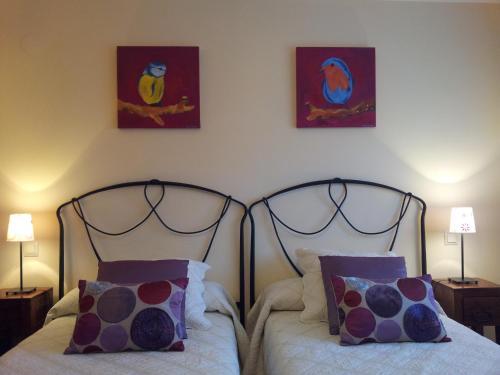 Cama o camas de una habitación en Casa Rural Basaula