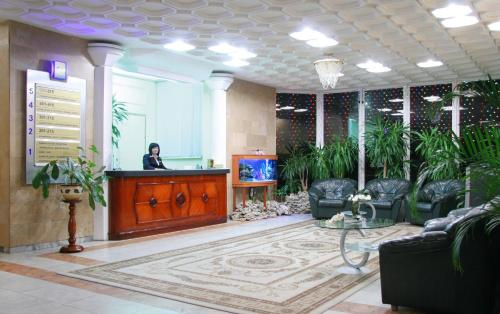 The lobby or reception area at Hotel Prydesnyansky