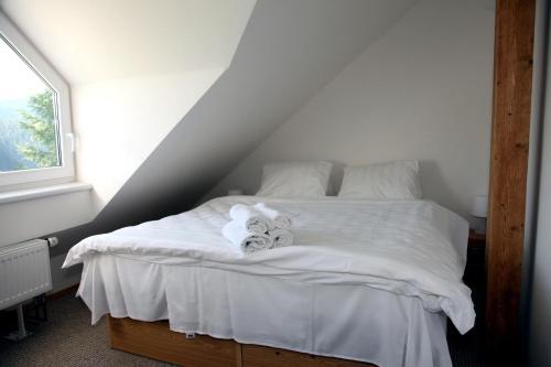 Postel nebo postele na pokoji v ubytování Penzion Pod lesem
