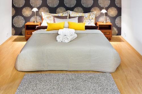 A bed or beds in a room at Apartmány Braníčkov