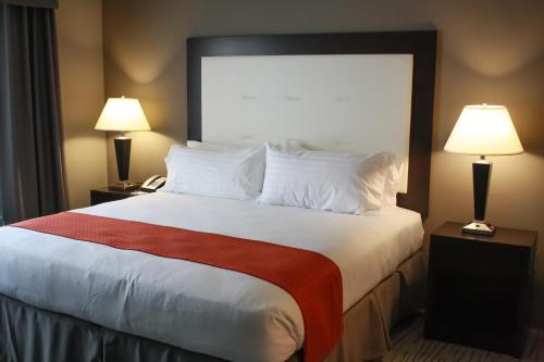 A bed or beds in a room at Holiday Inn Hotel & Suites Davenport, an IHG hotel