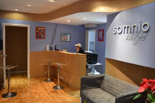 The lobby or reception area at Somnio Hostels