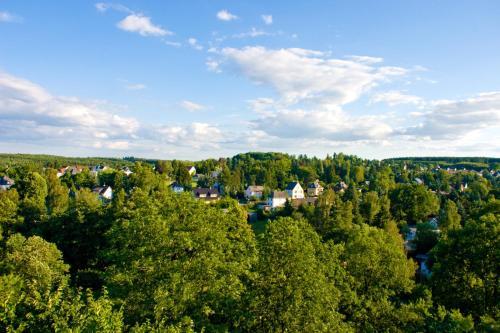 Blick auf Schloss-gut-Hotel Jößnitz aus der Vogelperspektive
