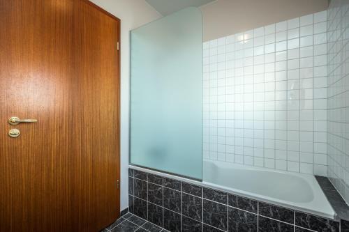A bathroom at Hótel Selid