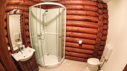 A bathroom at Sombereki Horgásztó - Rönkház