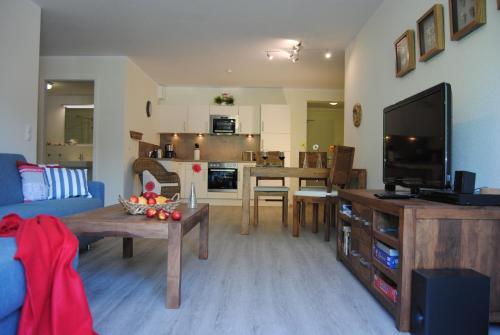 Küche/Küchenzeile in der Unterkunft Ferienwohnung Blaubärstrand