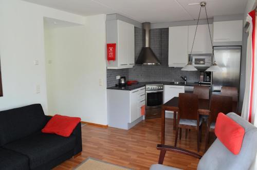 Majoituspaikan Huoneistohotelli Lumihovi keittiö tai keittotila