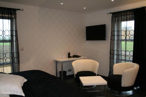 Télévision ou salle de divertissement dans l'établissement Hotel L'Ami du Chambertin