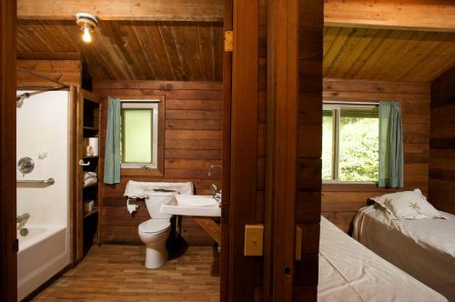 A bathroom at The Cabins at Kokee