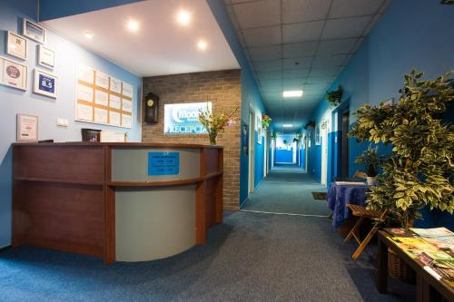 The lobby or reception area at Moon Hostel