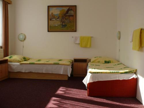 A bed or beds in a room at Penzion Dana Troja