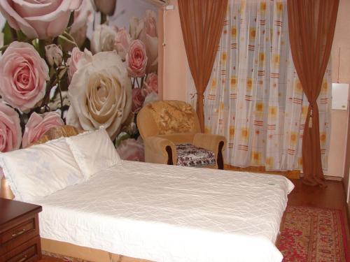 Кровать или кровати в номере Apartment Navaginskaya 12-1
