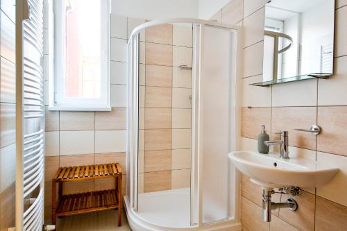 A bathroom at VITOM Apartments Ostrava