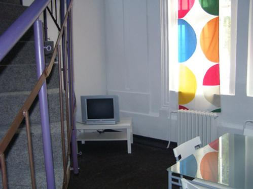A television and/or entertainment centre at Hostel Praha Ládví