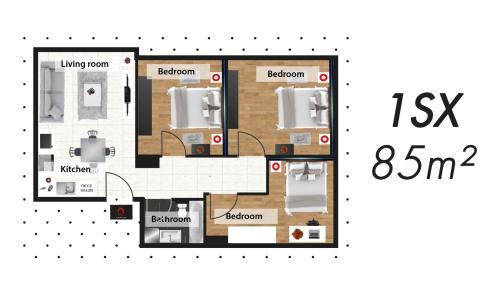 Grundriss der Unterkunft The Queen Luxury Apartments - Villa Serena