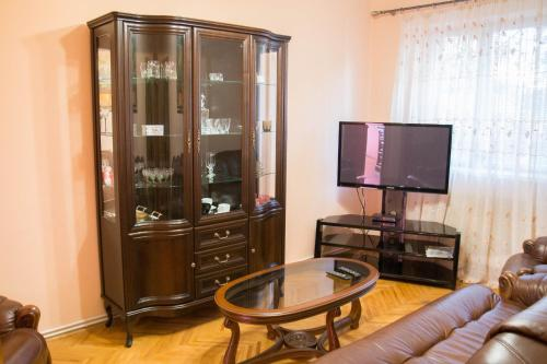 A television and/or entertainment center at Apartments on Zhemaite
