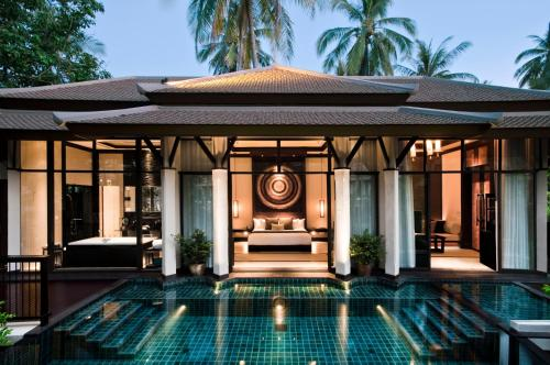 The facade or entrance of Banyan Tree Samui