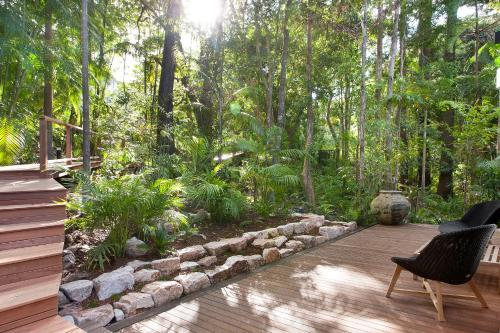 A porch or other outdoor area at Luxury rainforest retreat, Little Cove