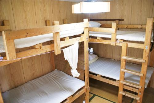 民宿 アガイ浜にある二段ベッド