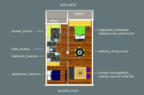 The floor plan of Short Stay Rotterdam Centre