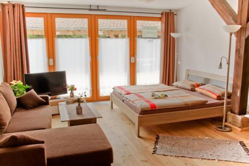 Ein Zimmer in der Unterkunft Ferienwohnung Im Bürgermeisterhaus