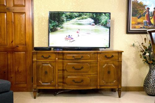 A television and/or entertainment center at Choose To Be Happy at Long Mountain Cabin - One Bedroom Apartment