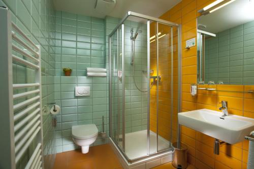 A bathroom at Hotel Kravi Hora