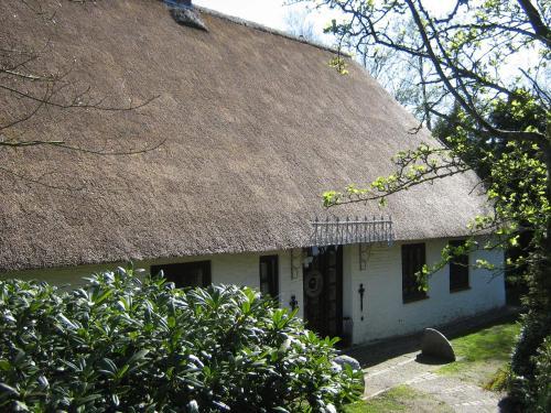 Eine Fassade oder ein Eingang zu Ferienhaus unter Reet