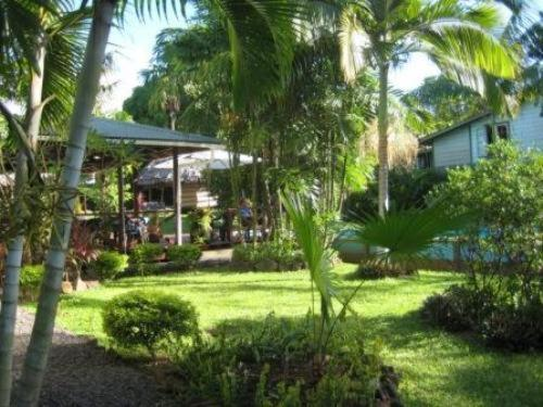 A garden outside The Samoan Outrigger Hotel