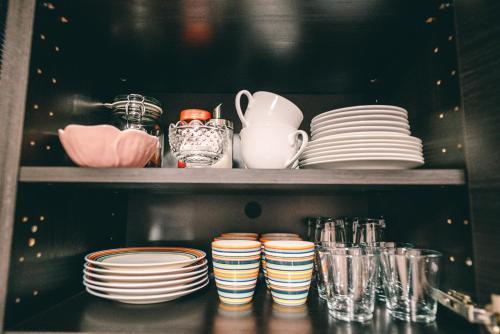 Coffee and tea-making facilities at Casablanca Apartments