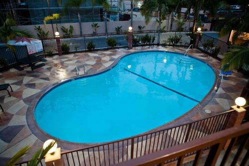 A view of the pool at Budget Inn Anaheim near Disneyland Drive or nearby