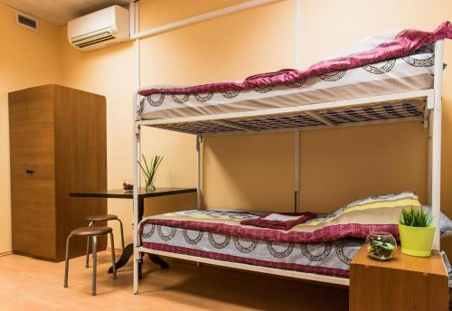 Двухъярусная кровать или двухъярусные кровати в номере Lucky Hostel