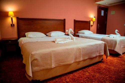 A bed or beds in a room at Kelesler Park Hotel