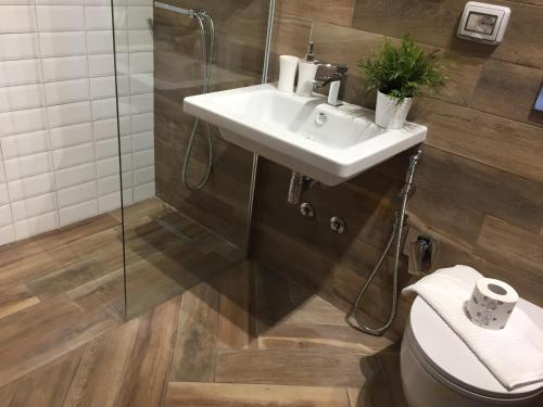 A bathroom at Hotel Domus Tiberina