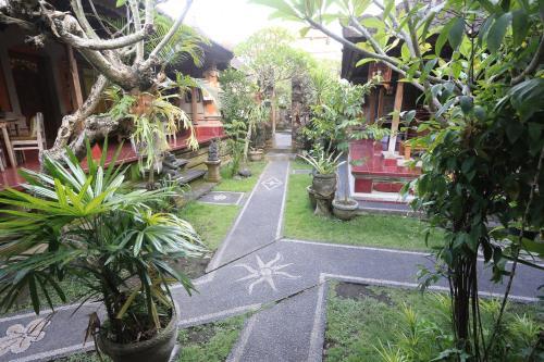 A garden outside Dewa Hostel