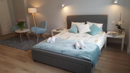 Łóżko lub łóżka w pokoju w obiekcie Apartment Baby Blue