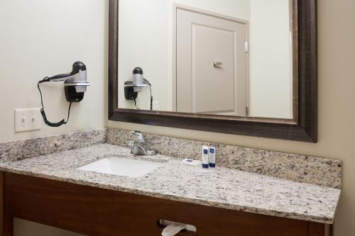 A bathroom at AmericInn by Wyndham Sibley